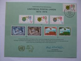 UNITED NATIONS FDC SOUVENIR CARD GENEVA POSTMARK UNIVERSAL POSTAL UNION 1974 - Geneva - United Nations Office