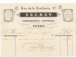 Facture Ancienne -  TOURS - Cordonnier Bottier - Secret  - 1852 - Francia