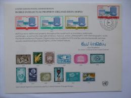 UNITED NATIONS FDC SOUVENIR CARD GENEVA POSTMARK WORLD INTELLECTUAL PROPERTY ORGANIZATION 1977 - Geneva - United Nations Office