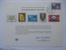 UNITED NATIONS FDC SOUVENIR CARD GENEVA POSTMARK DISARMAMENT DECADE 1973 - Geneva - United Nations Office