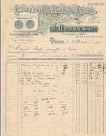 Facture Ancienne -  TOURS - Fabrique D'Ustensiles De Ménage - J. Henry 1909 - France