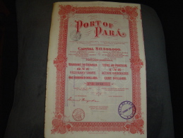 "Share Action "" Port Of Para "" Maine USA 1906 Transport Et Industrie Avec Tous Les Coupons - Industry"