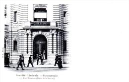 La Société Générale - Succursale A, 134 Rue Réaumur (Place De La Bourse à Paris) - Très Beau Plan Animé Précurseur - Banken
