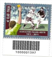 2011 - Italia 3303 Arbitri - Codice A Barre - 6. 1946-.. Repubblica