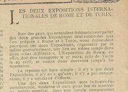 Pub De 1911 Article Les DEUX EXPOSITION INTERNATIONALES De ROME Et De TURIN . - Advertising
