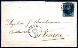 BELGIUM GAND TO VERURNE Classic Cover 1863 VF - 1830-1849 (Belgique Indépendante)