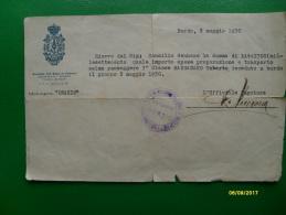 1930 Motonave ORAZIO Navig.Gen.Italiana Ricevuta Trasporto Salma - Vecchi Documenti
