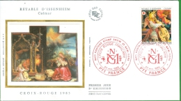 FDC SUR SOIE 23 NOVEMBRE 1985  RETABLE ISSENHEIM CROIX ROUGE - 1980-1989
