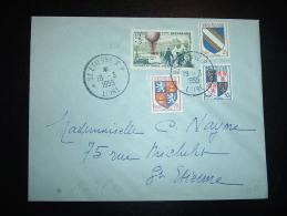 LETTRE TP YT 1018 JOURNEE DU TIMBRE POSTE PAR BALLONS 12F + 3F + BLASONS 2F70 OBL. 19-3-1955 ST ETIENNE RP (42 LOIRE) - France