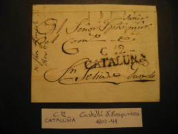 CASTELLO EMPURIES 1802 1844 To Sant Feliu De Guixols Front Frontal Letter Ampurias PREPHILATELY Catalonia Spain Espa&nti - Spain