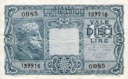Italy 10 Lit.,23.11.1944,P.32c,signatures: Bolaffi / Cavallaro / Giovinco,as Scan - [ 5] Schatzamt