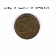 AUSTRIA   50  GROSCHEN  1961  (KM # 2885) - Austria
