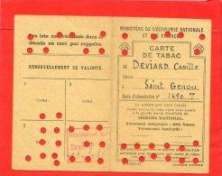 CARTE DE RAVITAILLEMENT DE TABAC MODELE 1943 SAINT GENOU INDRE DEBIT CAILLOU A CHATEAUROUX SECOURS NATIONAL ALIMENTATION - Documents