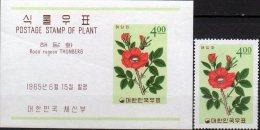 Kartoffel-Rose 1965 Korea 486+ Block 208 ** 7€ Pflanzen Foglietto M/s Rosa Rugosa Flora Bloc Nature Sheet Bf South-Corea - Corée Du Sud