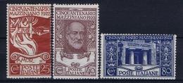 Italy: 1922. Mi 157-159 MNH/**, Sa 128-130 - 1900-44 Victor Emmanuel III.