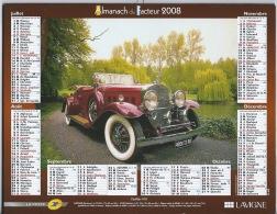 Almanach Du Facteur 2008 Bugatti Et Cadillac - Calendars