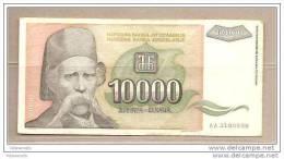 Jugoslavia - Banconota Circolata Da 10.000 Dinari P-129a - 1993 - Yugoslavia