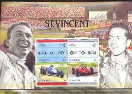 ST.VINCENT  822  MINT NEVER HINGED MINI SHEETS OF CARS ; GRAND PRIX ; DAN GURNEY ; PHIL HILL - Autos