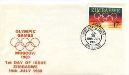 1980  Jeux Olympiques De Moscou FDC  Non Adressé - Zimbabwe (1980-...)