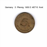 GERMANY   5  PFENNIG  1950 D  (KM # 107) - 5 Pfennig