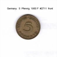 GERMANY   5  PFENNIG  1950 F  (KM # 107) - 5 Pfennig