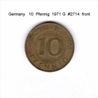 GERMANY   10  PFENNIG  1971 G  (KM # 108) - 10 Pfennig