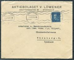 1933 Sweden Aktieboletaget Lowener Stockholm 25 Ore Gustav Cover To Germany - Lettres & Documents