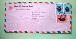 Taiwan 1981 Cover To Canada - Plane - Enamel Brush Washer - Ritual Vessel - Art History - 1945-... Republic Of China
