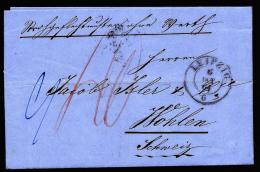 A2214) Sachsen Brief Muster Ohne Wert Von Leipzig 6.10.1864 In Die Schweiz !!