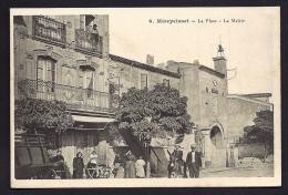 CPA ANCIENNE- FRANCE- MIREPEISSET (11)- LA PLACE ET LA MAIRIE- TRES BELLE ANIMATION GROS PLAN- ANE MONTÉ- CAFÉ - Francia