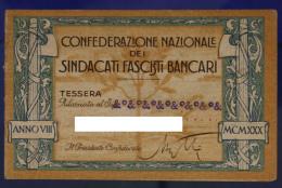 TESSERA CONFEDERAZIONE NAZIONALE DEI SINDACATI FASCISTI BANCARI 1930 VENEZIA #T432 - Documenti Storici