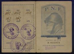 TESSERA PARTITO NAZIONALE FASCISTA P.N.F. FASCIO DI COMBATTIMENTO 1934 MESTRE #T442 - Documenti Storici