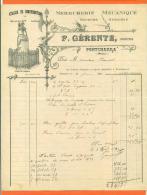 """Dpt  38  Pontcharra  """" Facture F Gerente - Serrurerie Mecanique - 1911 - Chevalier Bayard - Artigianato"""
