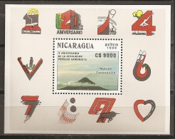 GEOLOGÍA/VOLCANES - NICARAGUA 1990 - Yvert #H195 - MNH ** - Volcanes