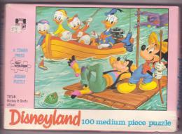 Ancien Puzzle Disney Donald Mickey Pluto Goofy Afloat  Jigsaw - Puzzles