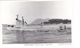 Batiment Militaire Marine Nationale Archimede Bathyscaphe 18-4-1974 Arriere Marius Bar Equipage - Guerre