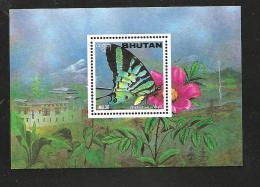 O) 1996 BHUTAN-ASIA, BUTTERFLIES, FLOWERS, SOUVENIR MNH.- - Bhutan