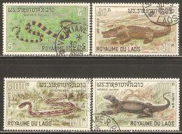 Laos 1967 Mi# 218-221 Used - Reptiles - Laos