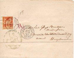 FRANCE BANDE DE JOURNAL RECOMMANDEE AVEC SON DOCUMENT 1887 - Marcophilie (Lettres)