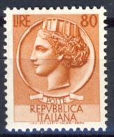 """Siracusana """"Italia Turrita"""" - 1953/54 - 80 Lire Bruno Arancio (Sassone 718MG) LUSSO MNH** - 6. 1946-.. Repubblica"""