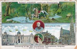 Litho RUDOLF VON HABSBURG Verehrt Das Allerheiligste, Erinnerung An Den XXIII Internationalen >>> - Royal Families