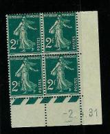 FRANCE TYPE SEMEUSE N° 239 */** BLOC DE 4 COIN DATE DU 02 / 04 / 1931 - Coins Datés