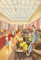 O-SALSOMAGGIORE -HOTEL CENTRALE BAGNI-HALL-CARD ILLUSTRATA - Parma