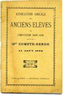 ASSOCIATION AMICALE Des ANCIENS ELEVES De L´Institution St Jean , St QUENTIN - 1898 - Diplômes & Bulletins Scolaires