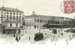 GE Genève. La Gare De Genève Et Les Tramways. - GE Genève
