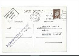 ENTIER POSTAL PETAIN PARIS VALENCAY TAXE KODAK PATHE CINEMA 1942 (PORT OFFERT / FREE SHIPPING)