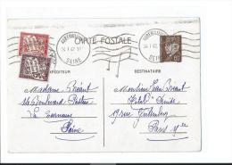 ENTIER POSTAL PETAIN PARIS LA COURNEUVE AUBERVILLIERS KRAG 1942 TAXE 30c + 50c (PORT R2 OFFERT / FREE SHIPPING)
