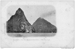 CPA  -   SAINT - LUCIA  -   SAINTE - LUCIE  (  Antilles / Bermudes )  The Two Pitons Of Soufrière -  Carte Précurseur - Bermudes
