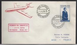 Premier Vol Caravelle, 1 Juin 1959, Rome Nice - Poste Aérienne