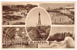 I630 Blackpool - Italian Gardens Stanley Park - Empress Ballroom - Open Air Swimming Pool / Viaggiata 1949 - Blackpool
